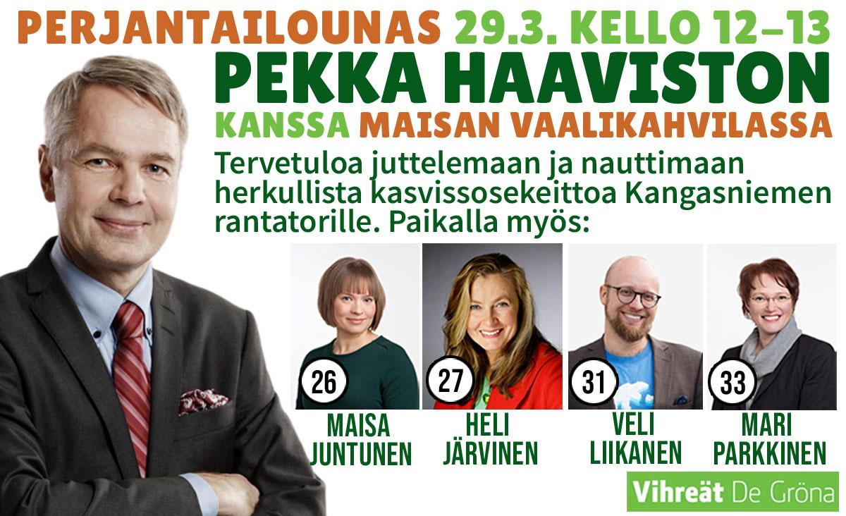 Pekka Haavisto Kangasniemellä 29.3.